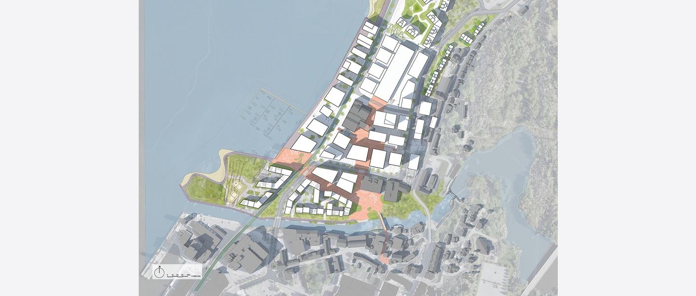 Illustrasjonsplan. Planen åpner for en utvikling av området som kan gjenomføres over flere tiår.