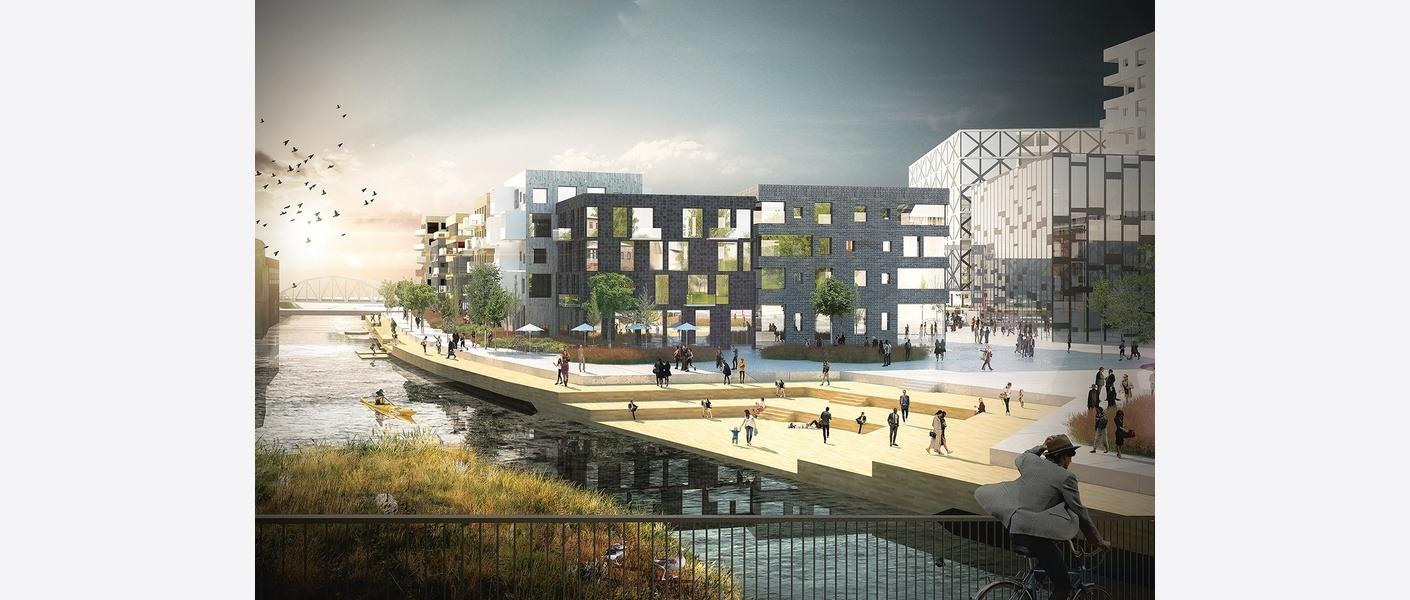 Nye forbindelser vil knytte dagens sentrum til Verket og sjøen. Fra den nye gangforbindelsen fra Møllebyen til Verket. Illustrasjon: A-lab