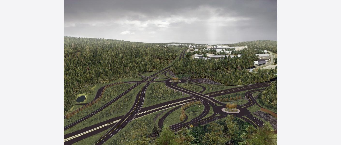 Oversikt Vinterbro: illustrasjonen viser vinterbrokrysset etter ombygging. Øverst til høyre er Myrdalsåsen og Kveldro næringsområde. Illustrasjon: Asplan Viak