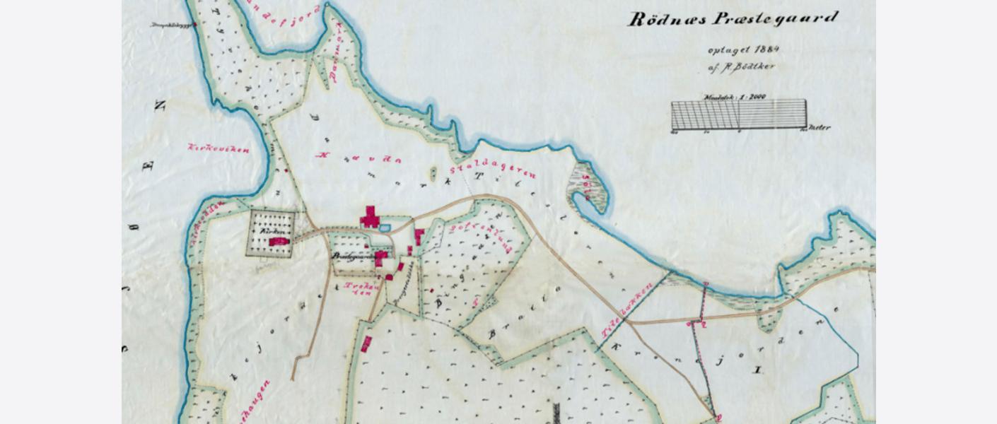 Kart over Rødenes prestegård. Oppmålt og tegnet av R. Bødtker 1884. Fra Ovfs historiske kartarkiv. Foto: OVF