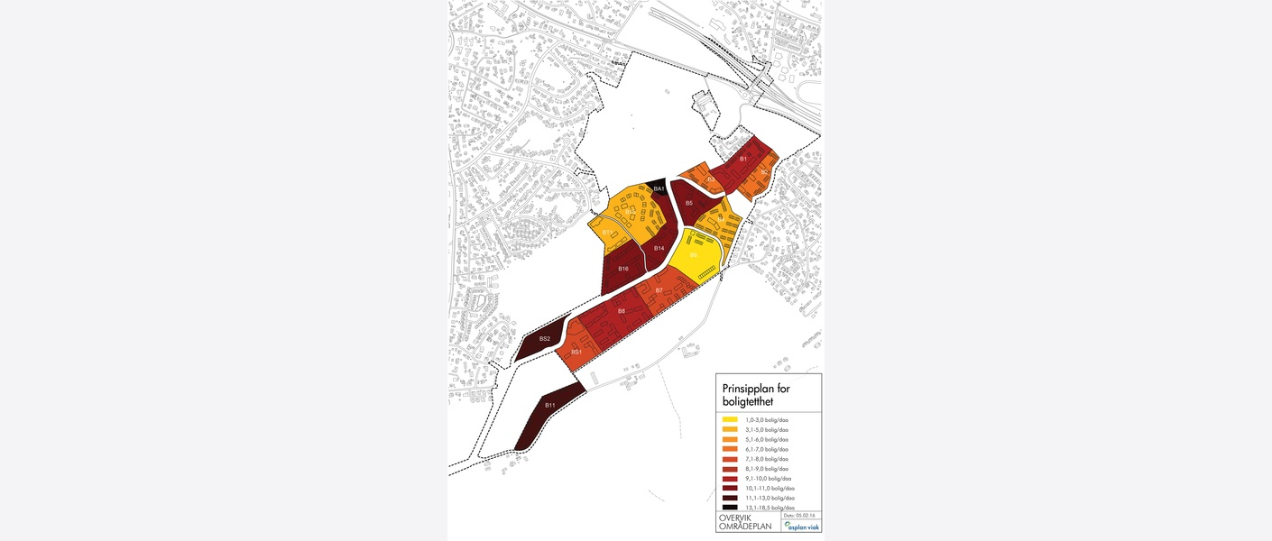 Prinsipplan for boligtetthet. Endelig utforming og høyder vil fastsettes i senere faser