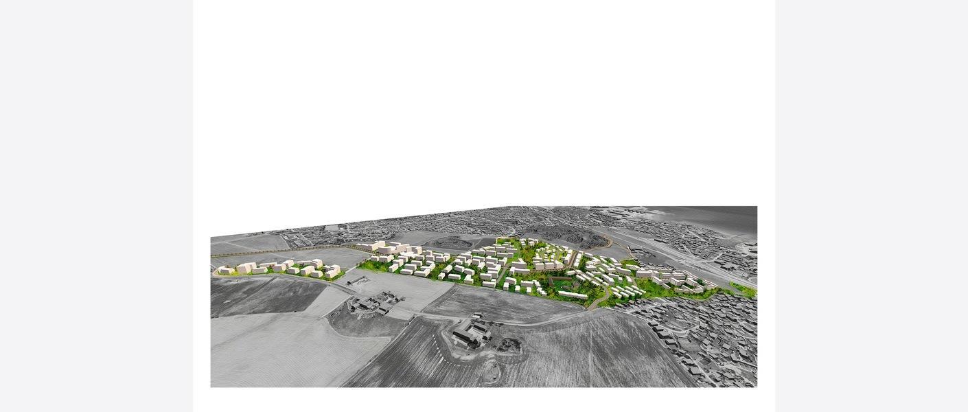Perspektiv av planområdet mot vest. Olderdalen og Presthusvegen i forgrunnen