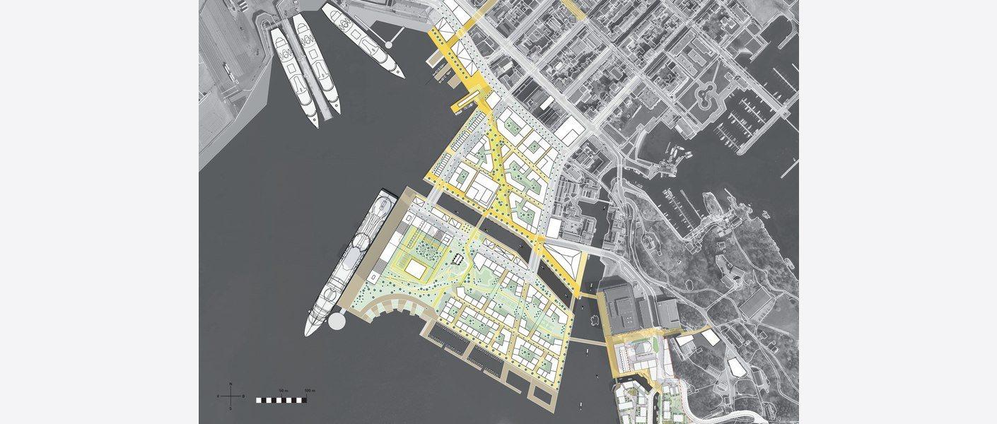 Illustrasjonsplan Vestre havn. Illustrasjon: Asplan Viak