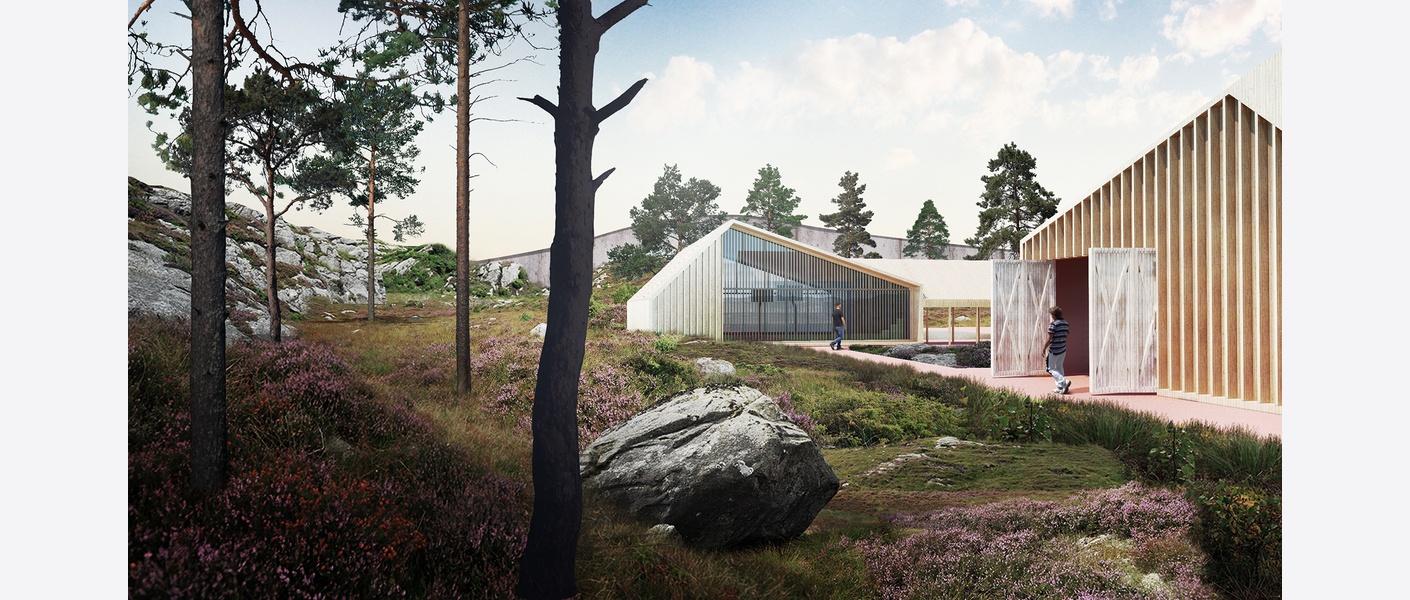 Illustrasjon punkt 1 til illustrativt romprogram: eit moderne og kompakt fengsel i lyngheiane på vestlandet. Illustrasjon: Asplan Viak