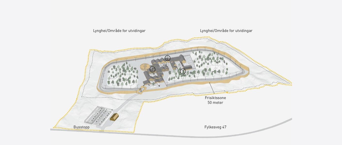 Illustrativt romprogram av fengsel- tomta på Ekrene. Illustrasjon: Asplan Viak