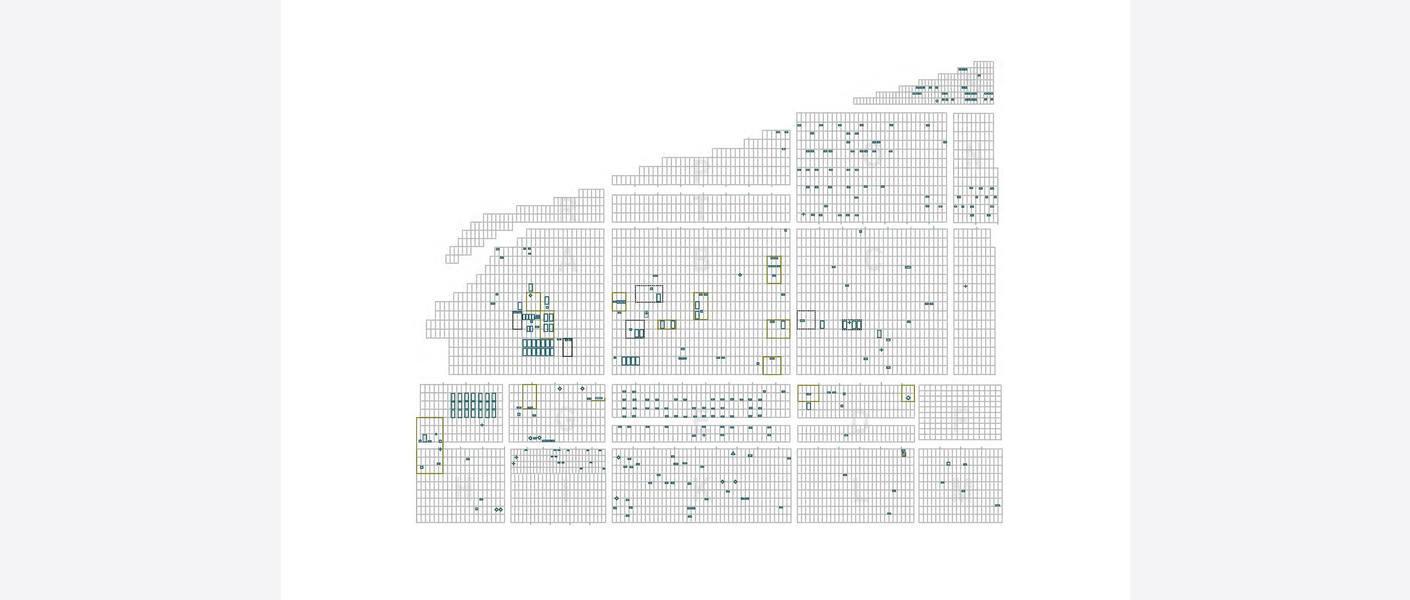 Registrering, Bodin kirkegård. Kartet viser alle gravminner, rammegraver og familiegraver som er aktuelle mht. bevaring. Illustrasjon: Asplan Viak