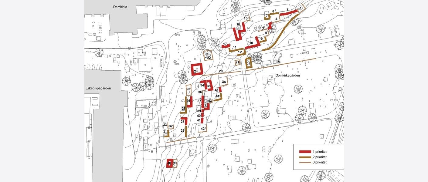 Kart over rammegraver som inngår i bevaringsarbeidet. Illustrasjon: Asplan Viak
