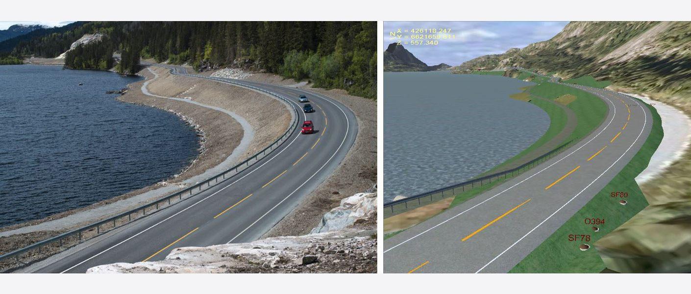 Modellbilde fra Novapoint til høyre, og ferdig bygget veg til venstre.