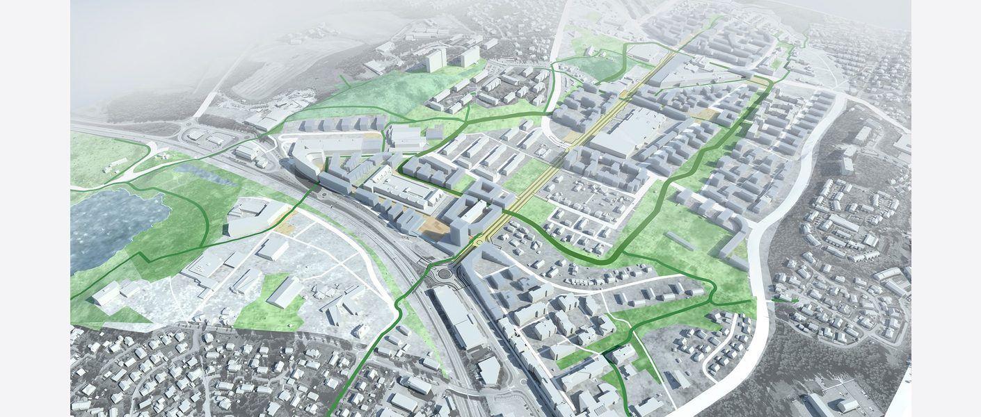 Oversiktsbilde Sentralområde i fremtiden