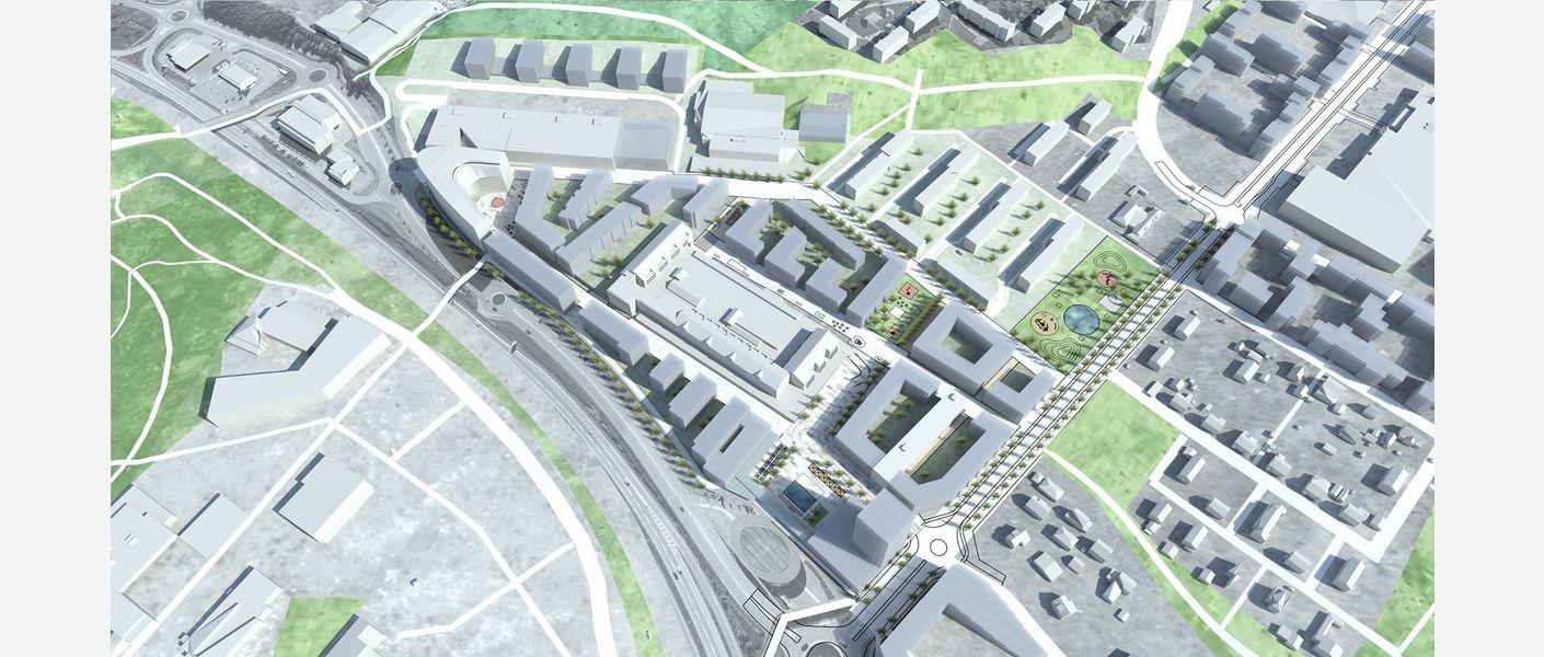 Oversiktsbilde sentrum i fremtiden