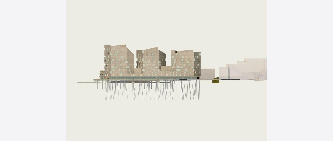 Fasade nord. Illustrasjon: Asplan Viak