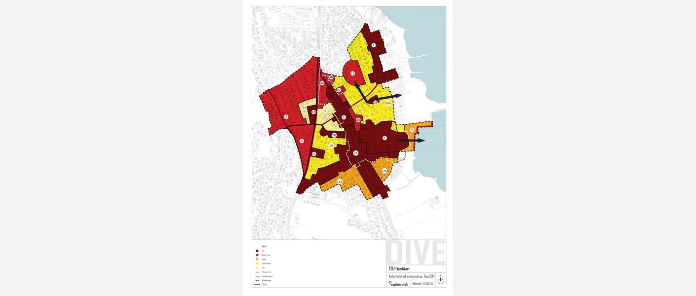 Verdikart: Kartet viser verneverdiene på Teie fordelt på delområdet inndelt etter ulike strukturer. Områder med mørkest rødfarge har størst verneverdi, lyse gule områder har minst verdi.