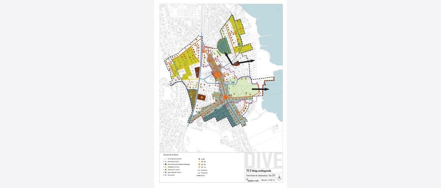 Kartet viser viktige utviklingstrekk, eksempelvis kulturhistoriske bygninger, elementer, veier, plasser, parker og strukturer som har satt størst preg på Teie sentrum.