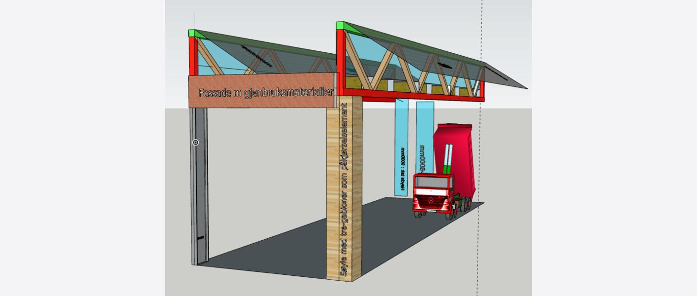 Skisse av konstruksjonsprinsipp for anlegget. Sagtanntaket har lysinnslipp fra nord med ombruk av vinduer, og solceller mot sør. Hovedkonstruksjon av ombrukt stål, søyler med slitasjesjikt av ombrukstrevirke. Illustrasjon: Asplan Viak