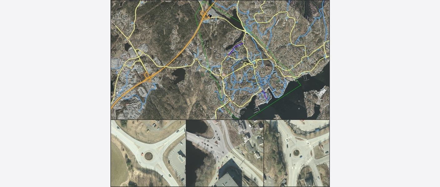 Oversikt over modellområdet i Arendal sentrum, næringsområdet på Stoa og bilder av sentrale kryss.
