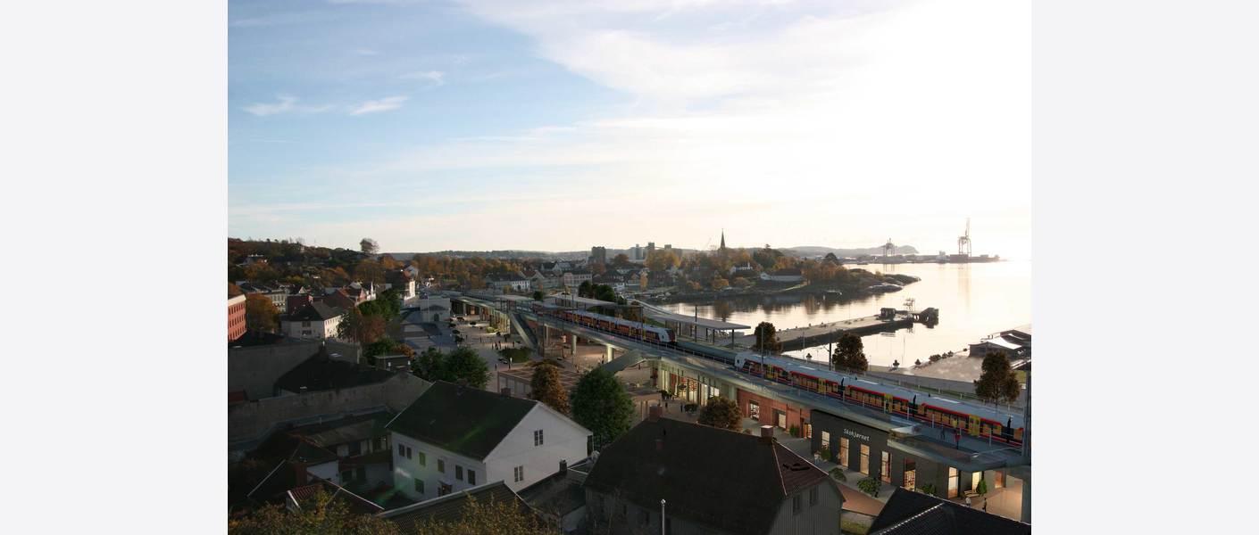 Larvik stasjon i Indre havn-korridoren - alternativ høy stasjon. Sett fra Bøkkerfjellet. Illustrasjon: Asplan Viak.