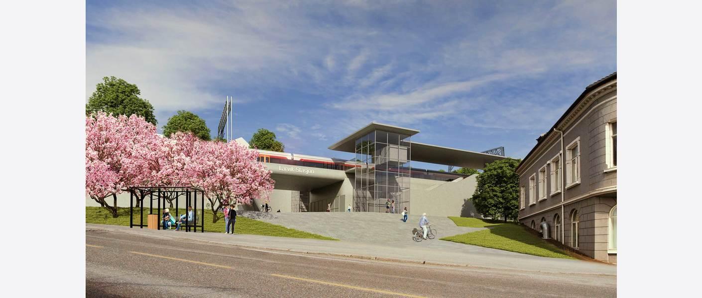 Larvik stasjon i Kongegatakorridoren - sett fra Storgata. Illustrasjon: Asplan Viak.
