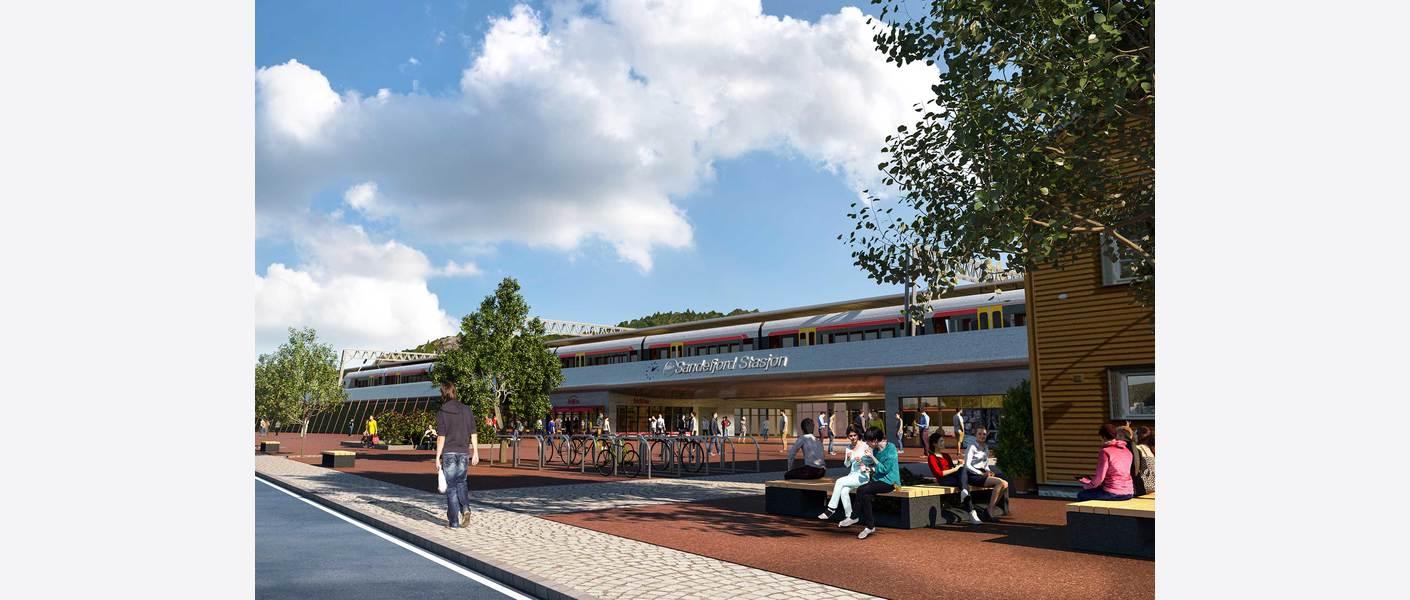 Sandefjord stasjon i Gokstadkorridoren - atkomst. Sett fra Peter Castbergs gate. Illustrasjon: Asplan Viak.