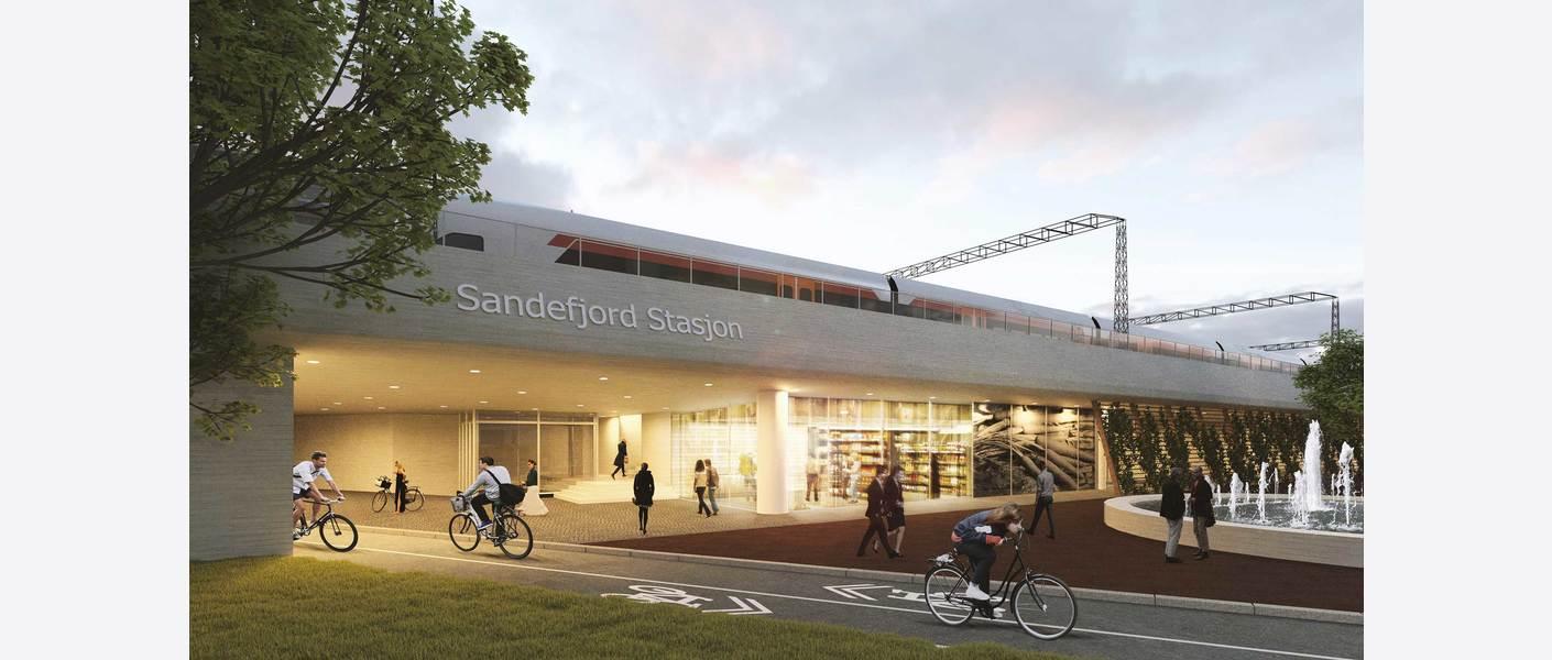 Sandefjord stasjon i Torp Vest- og Unnerbergkorridoren - atkomst. Sett mot nordvest, fra Bugårdsbakken. Illustrasjon: Asplan Viak