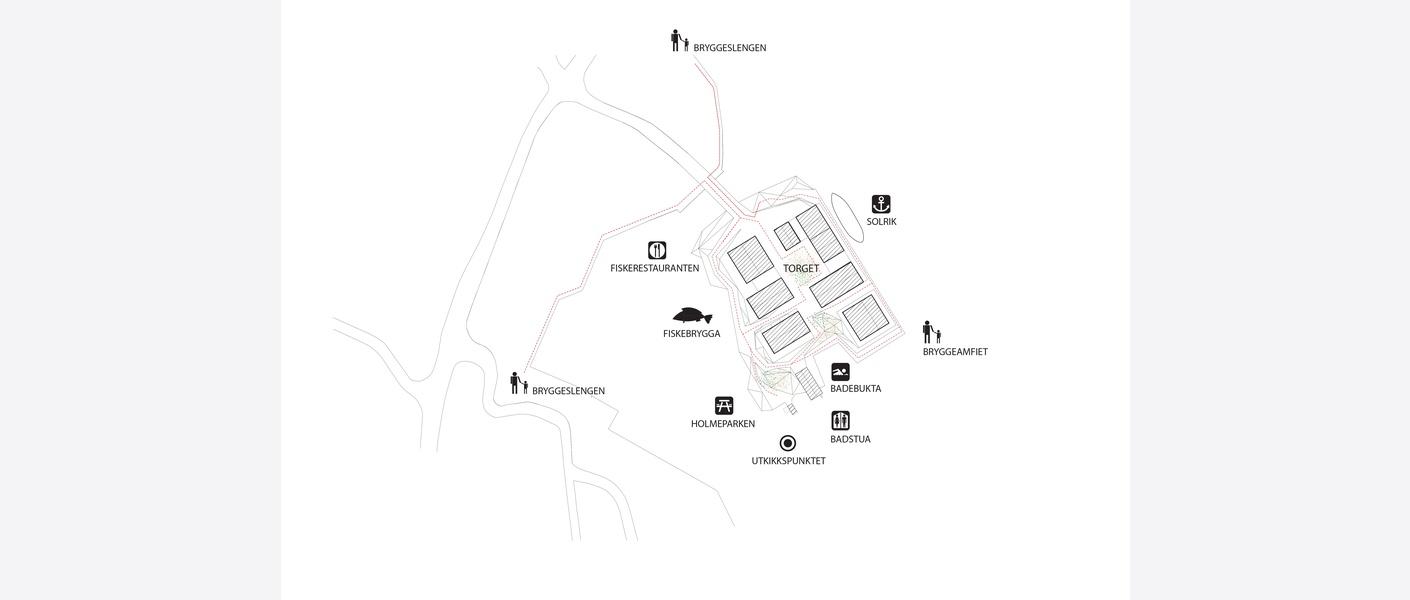 Grep - attraksjonene og bryggeslengen. Illustrasjon: Asplan Viak
