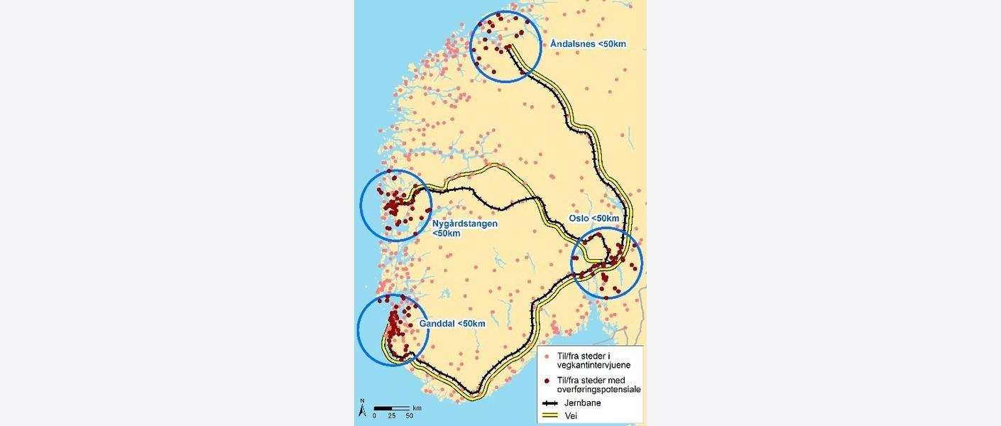 Det innsamla materialet kan brukast for å analysere transportoppdraga som i dag går parallelt med jernbanen til/frå terminalane på Vestlandet: Ganddal-Oslo, Bergen-Oslo og Åndalsnes-Oslo.