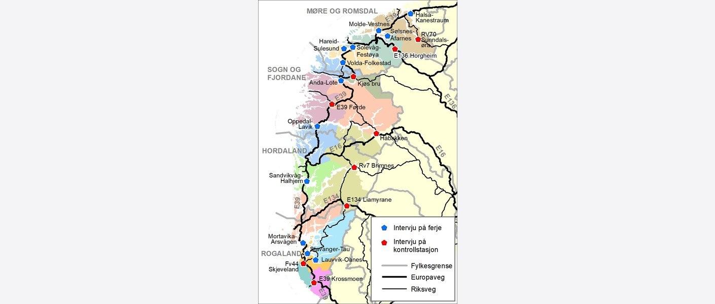 Godskartlegginga vart gjennomført ved 21 kontrollstasjonar/ ferjestrekningar langsetter Vestlandet. Plasseringa av intervjupunkt er avgjerande for inndeling i regionar.
