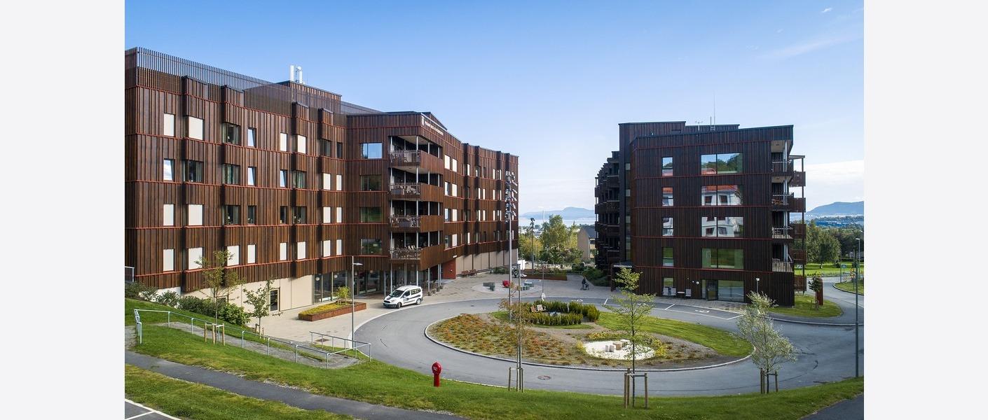 Fra øvre del av anlegget har man utsikt over torget, videre gjennom anlegget og utover fjorden og Fosenalpene. Den grønne øya er del av den kunstneriske utsmykningen i anlegget v/kunstner Jørn Rønnau. Foto: Synlig.no