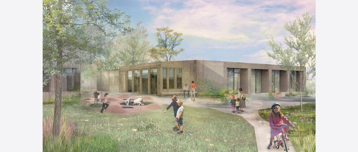 Barnehospice, Helsebyen Eg, Kristiansand. Illustrasjon: Asplan Viak