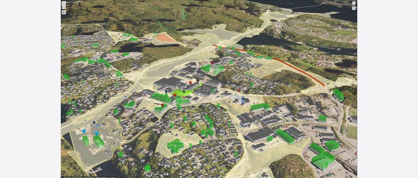 Byggene huser – arealbruk og demografi. Kartet viser byggene i planområdet symbolisert med bygningstypen registrert i matrikkelen. (Se hvilke ved å trykke på lenken til kartfortellingen under teksten)