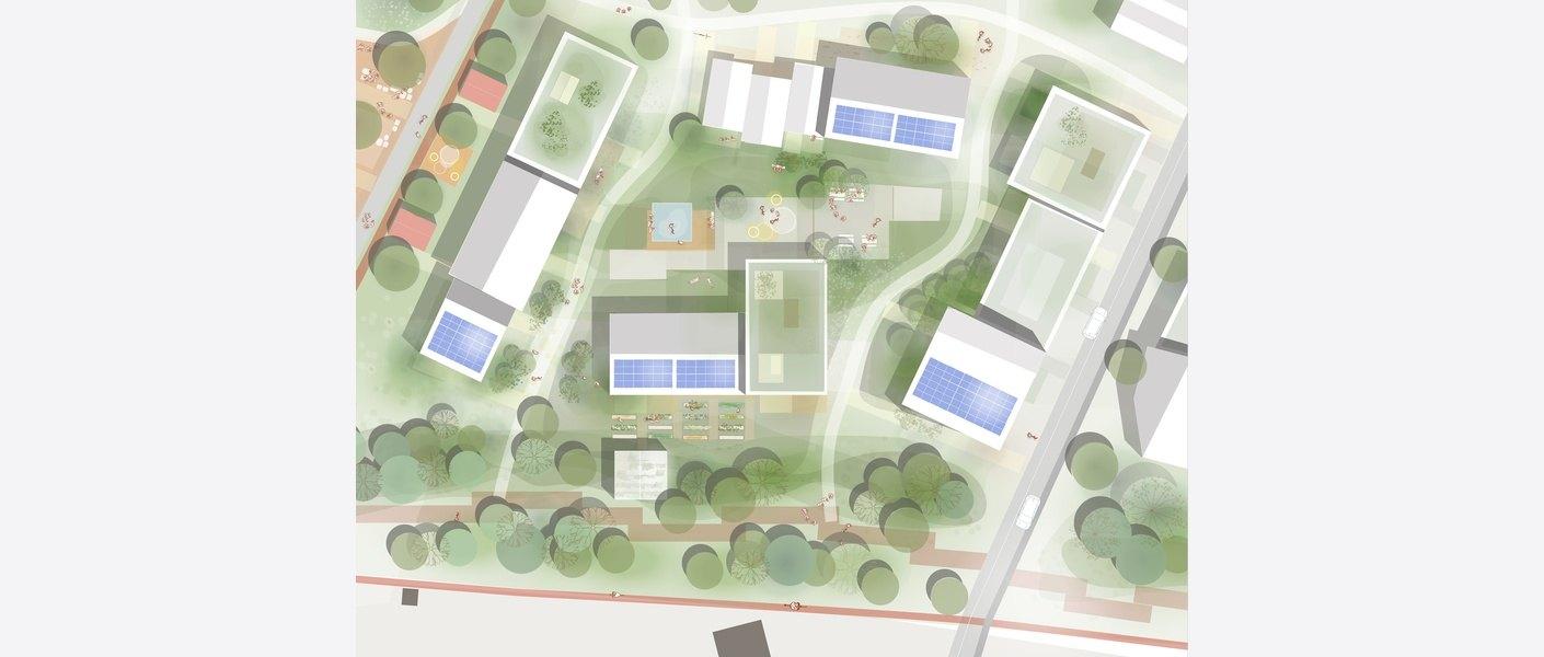 Planutsnitt ved bolig og park. Illustrasjon: Asplan Viak.