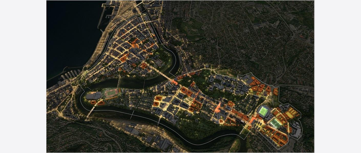 Hele byen med omriss - natt. Illustrasjon: Asplan Viak