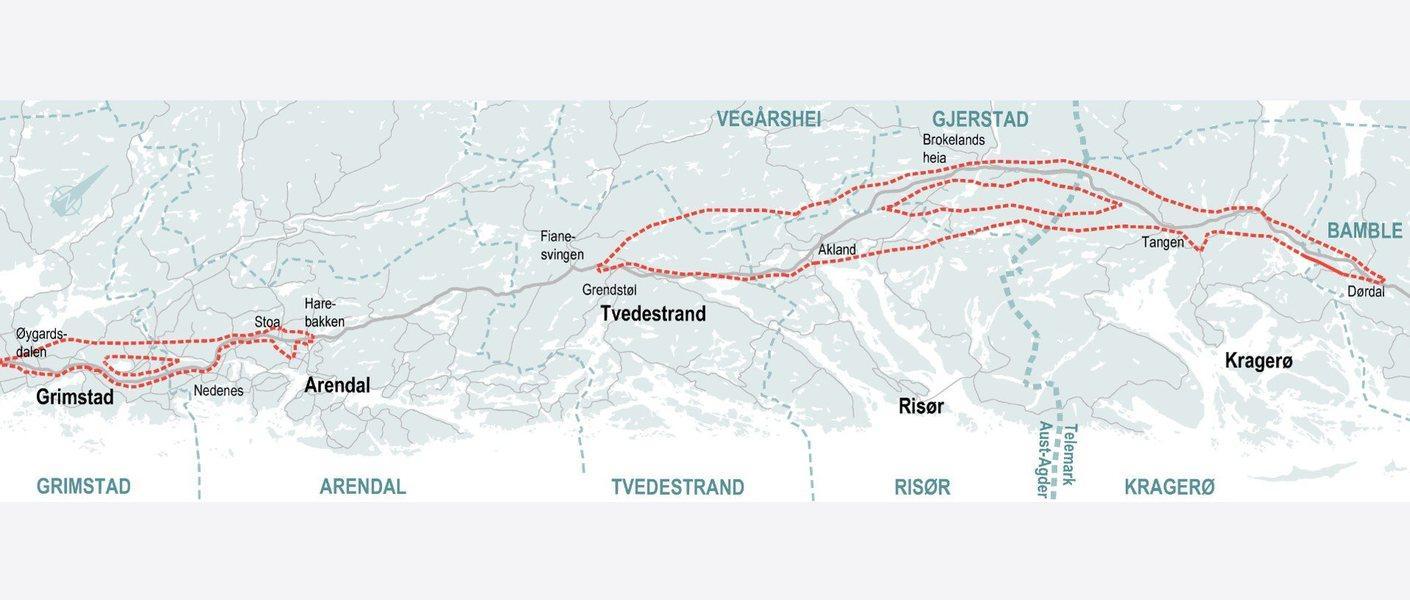 Oversikt over konsekvensutredede korridorer. Illustrasjon: Nye Veier, Rambøll og Asplan Viak