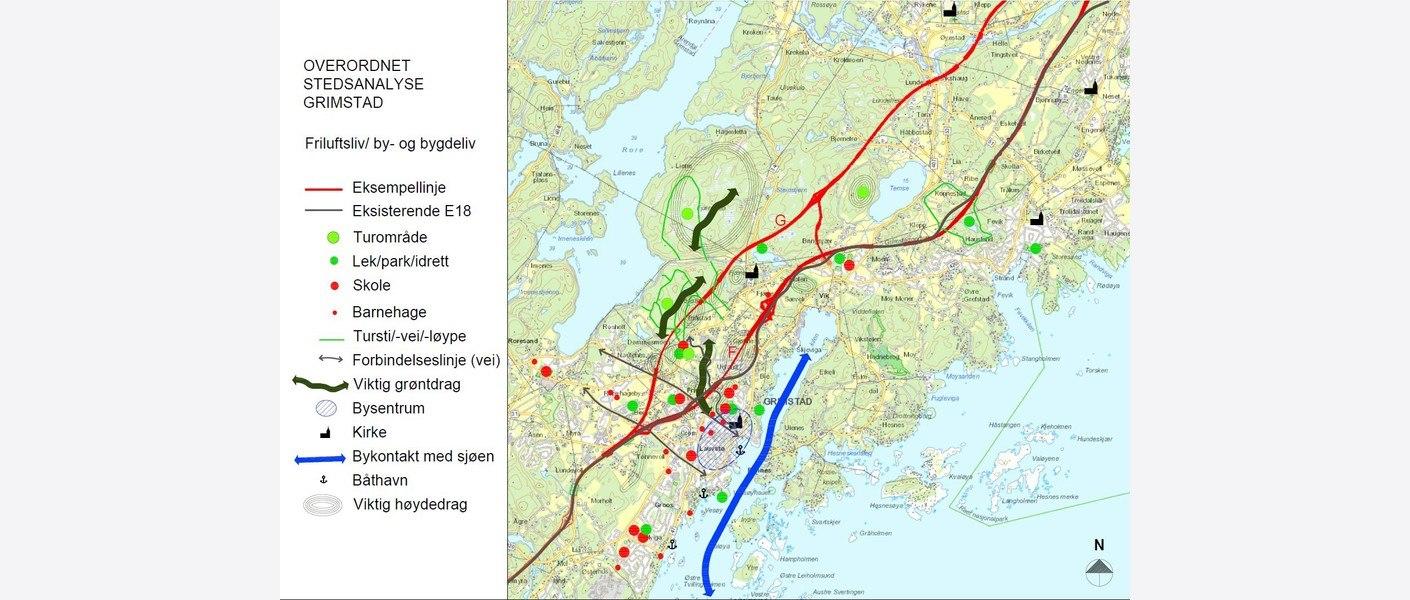 Overordnet stedsanalyse for Grimstad gjennomført i prosjektet. Illustrasjon: Nye Veier, Rambøll og Asplan Viak.