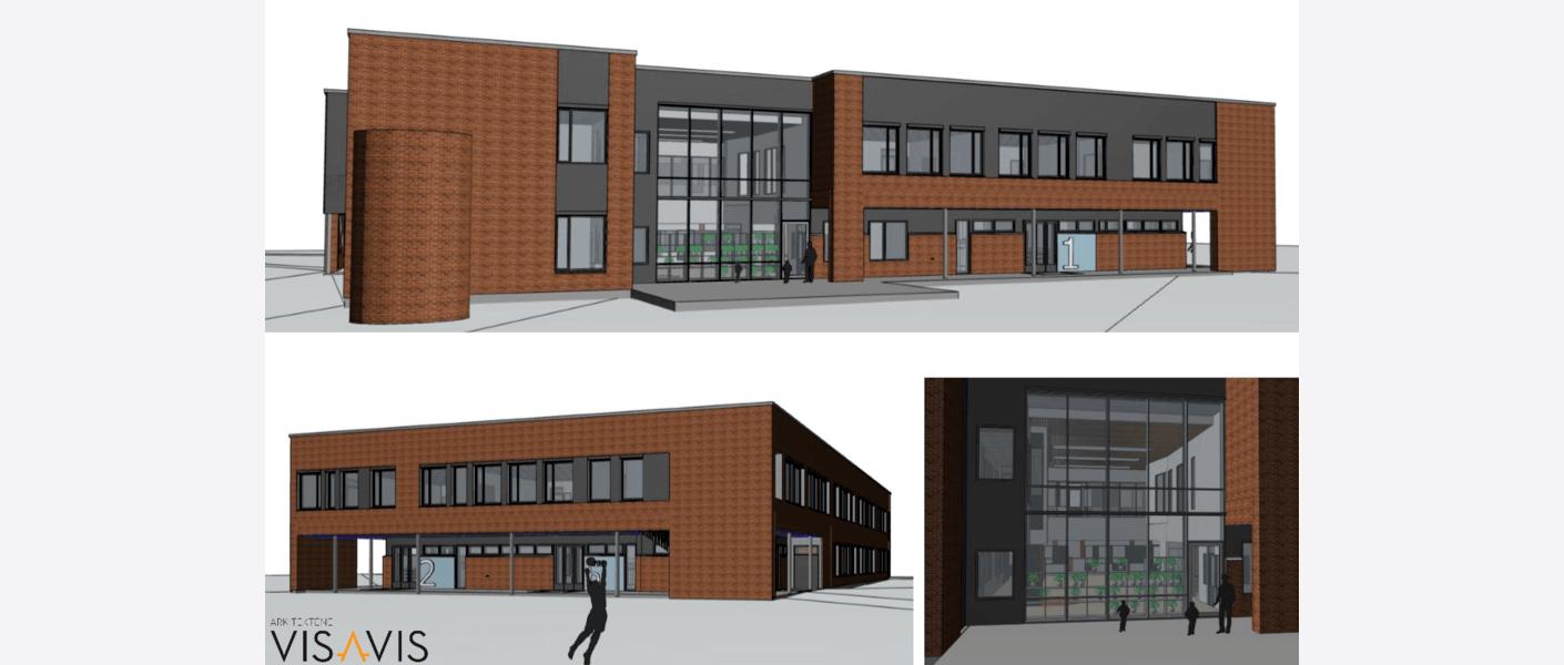 Nybyggets fasader skal gjenspeile det eksisterende bygget. Illustrasjon: Arkitektene Vis a Vis