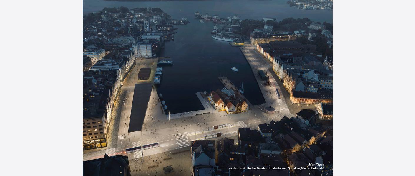 Vågen om kvelden. Illustrasjon: Asplan Viak, Rodeo, Sanden+Hodnekvam, Zenisk og Studio Holmedal