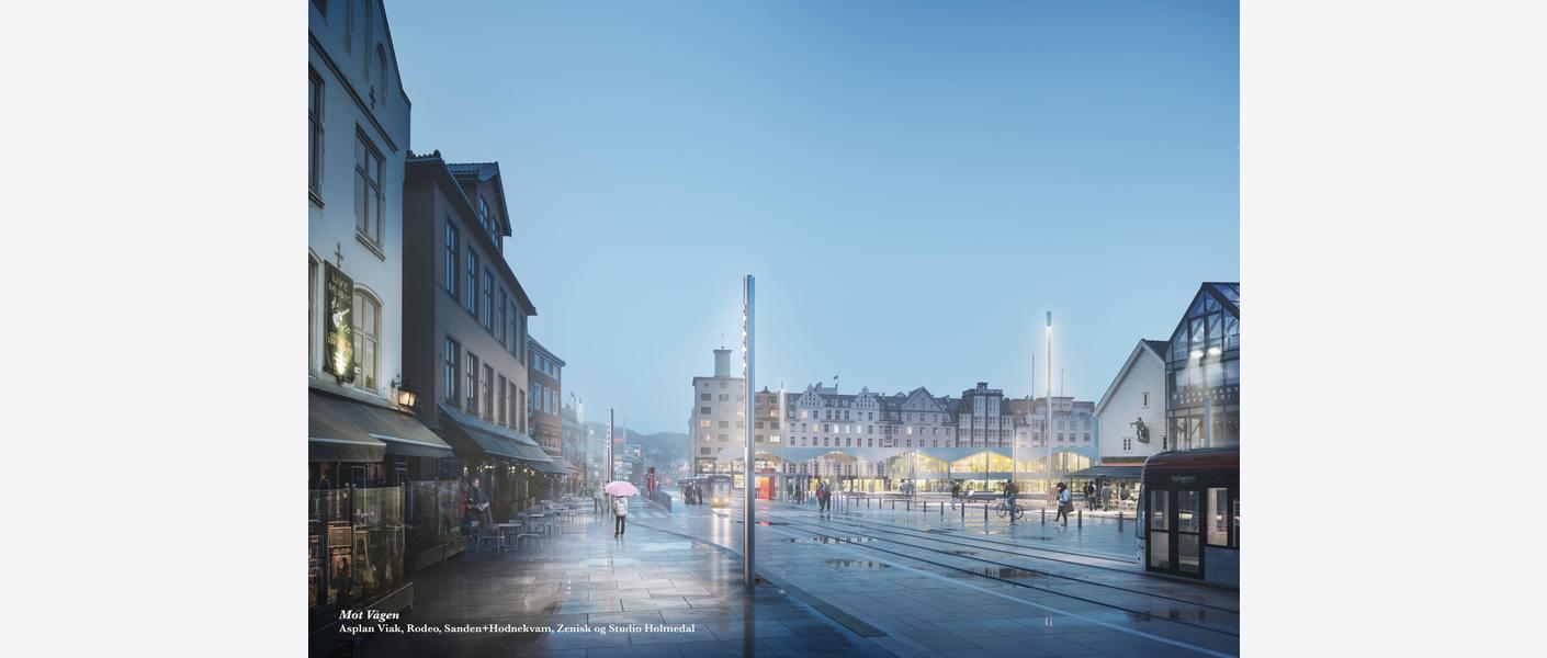 Torget bybanestopp. Illustrasjon: Asplan Viak, Rodeo, Sanden+Hodnekvam, Zenisk og Studio Holmedal