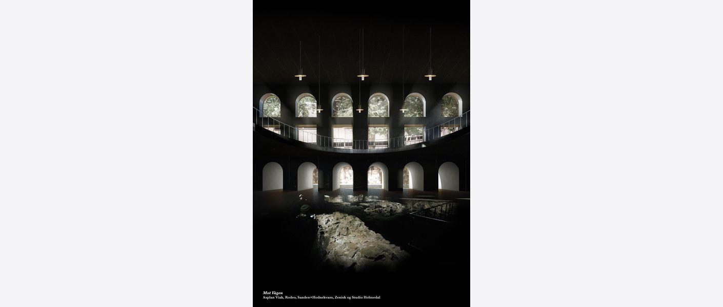 Nikolaikirke-allmenningen rådhusruinen. Illustrasjon: Asplan Viak, Rodeo, Sanden+Hodnekvam, Zenisk og Studio Holmedal