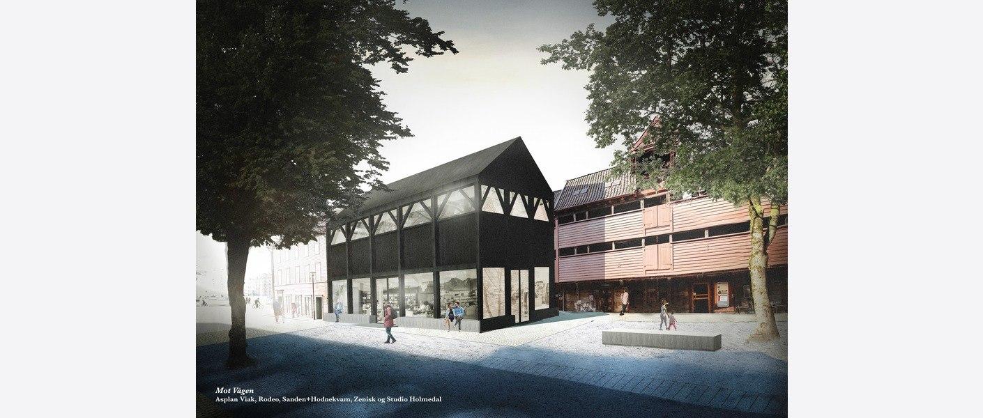 Nikolaikirke-allmenningen besøkssenter. Illustrasjon: Asplan Viak, Rodeo, Sanden+Hodnekvam, Zenisk og Studio Holmedal