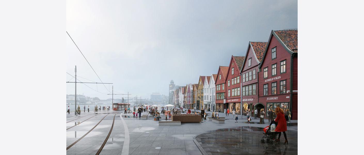 Bryggen. Illustrasjon: Asplan Viak, Rodeo, Sanden+Hodnekvam, Zenisk og Studio Holmedal