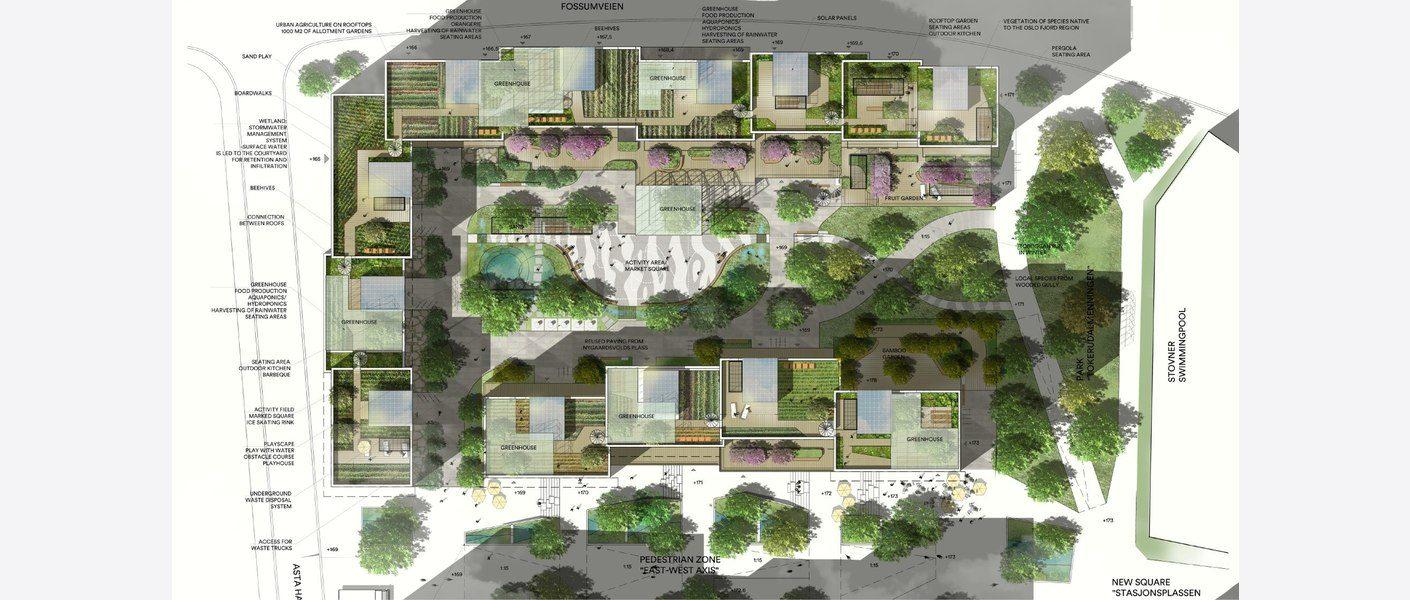 Plan. Illustrasjon: MAD arkitekter, Asplan Viak og Landskap +.