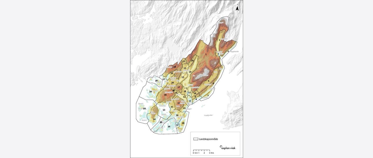 Høgdelagskart med inndeling i delområde. Illustrasjon: Asplan Viak