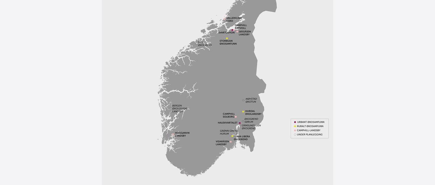 Økolandsbyer i Norge. Illustrasjon: Asplan Viak