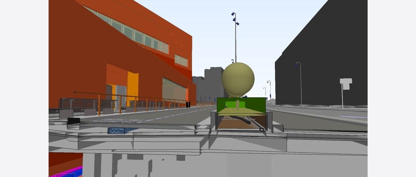 Perspektivsnitt av gateløpet fra Bimsync. Illustrasjon: Asplan Viak