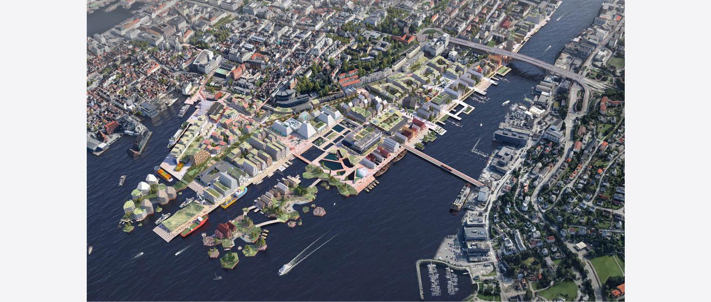 Ut mot havet! Dokken sett fra Nordvest. Illustrasjon: Asplan Viak og Mad arkitekter