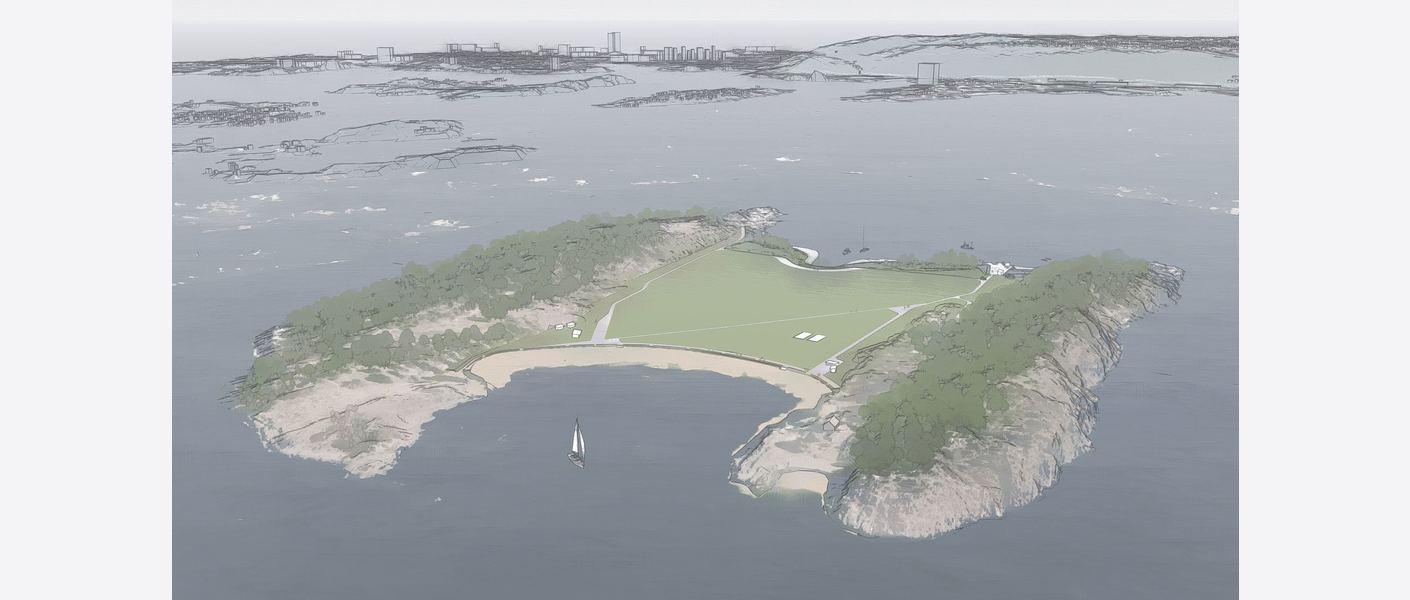 Nye Langøyene – foreløpig utforming sett fra sør (bildet er hentet fra Lumionmodell).