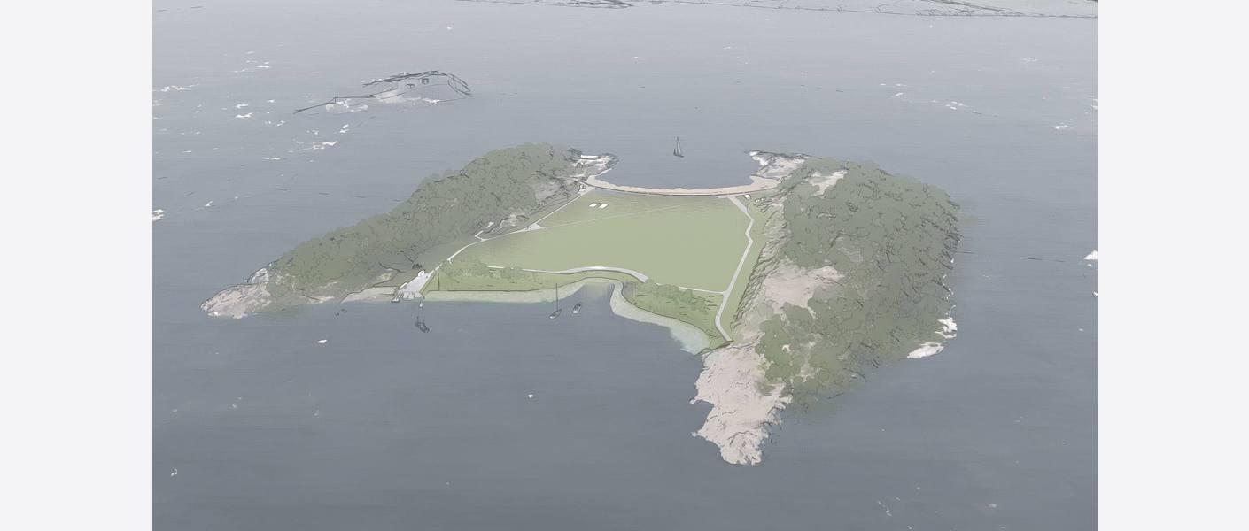 Nye Langøyene – foreløpig utforming sett fra nord (bildet er hentet fra Lumionmodell).