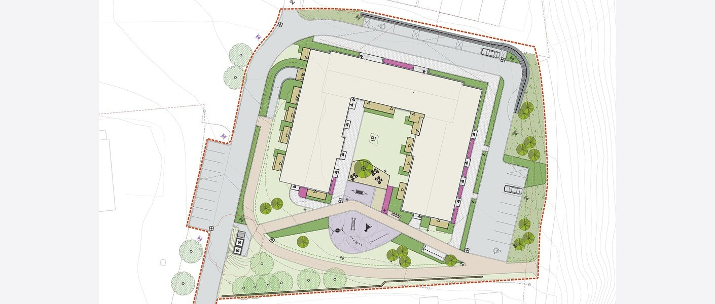 Plantegning av rehabiliteringsprosjektet Åsvegen 1 i Klæbu. Illustrasjon: Asplan Viak
