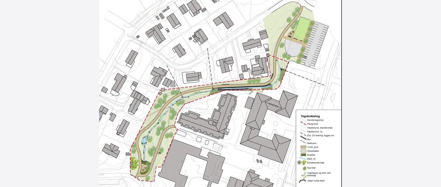 Plantegning av bekkeåpningen. Området er lokalisert til Klæbu senturm, med omkringliggende offentlige institusjoner og boligområder. Illustrasjon: Asplan Viak