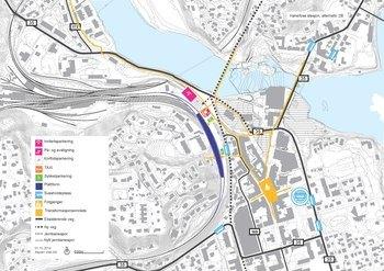 Mulighetsstudie av ny jernbanestasjon i Hønefoss sentrum