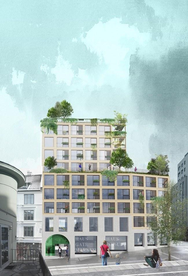 Økende etterspørsel etter grønne byboliger med individuell standard. Habitat Haus fra Maridalsveien. Illustrasjon: Asplan Viak
